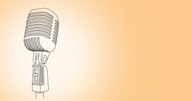 Orangener Hintergrund mit einem stilisierten Mikrofon für den Digital-Slam