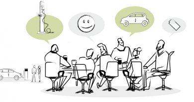 Ein gezeichnetes Bild von Personen an einem Schreibtisch, die über die Zukunft der E-Mobilität sprechen