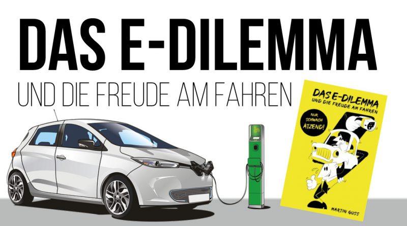 Bild zeigt die Elektromobilität, ein E-Auto, eine Ladesäule und das neue Buch von Martin Guss