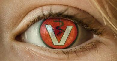 Das Veternäramt Logo als Spiegelung im menschlichen Auge